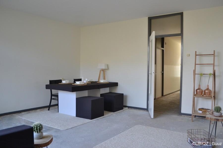 14. Home Staging mit CUBIQZ Pappmöbel; Tisch und Hocker aus Pappe mit Stoffbezug in Farbe GREG
